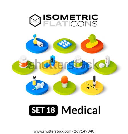 Isometric flat icons, 3D pictogram vector set 18 - Medical symbol collection - stock vector