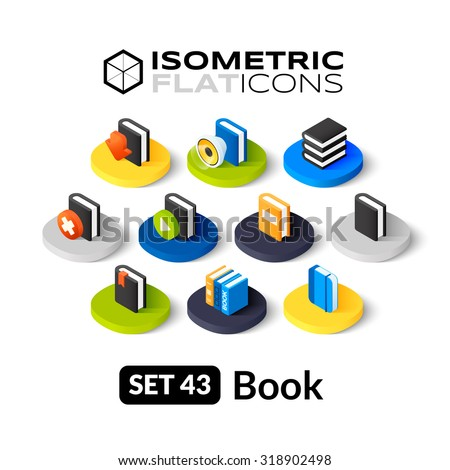 Isometric flat icons, 3D pictograms vector set 43 - Book symbol collection - stock vector