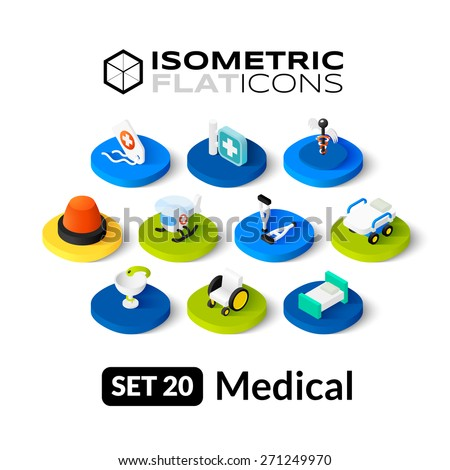 Isometric flat icons, 3D pictograms vector set 20 - Medical symbol collection - stock vector