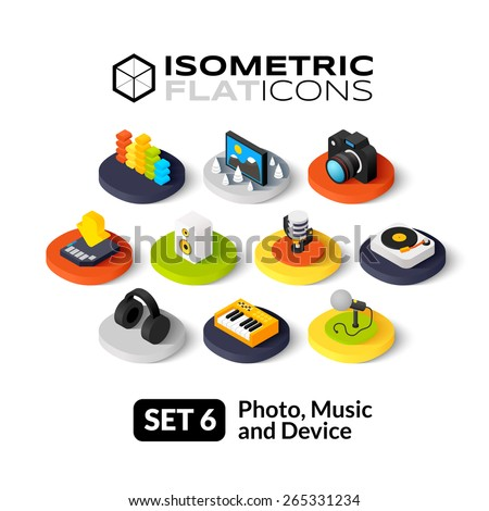 Isometric flat icons, 3D pictograms vector set 6 - Photo music and device symbol collection - stock vector