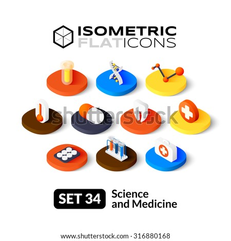 Isometric flat icons, 3D pictograms vector set 34 - Science and medicine symbol collection - stock vector