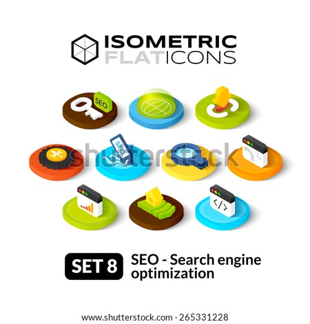 Isometric flat icons, 3D pictograms vector set 8 - Search engine optimization symbol collection - stock vector