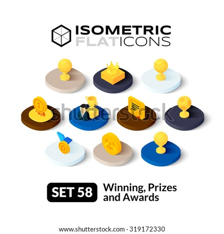 Isometric flat icons, 3D pictograms vector set 58 - Winning, Prizes and awards symbol collection - stock vector
