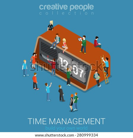 Isometric Flat Time Management concept vector illustration. People with Retro Clock Watch. Creative people collection.  - stock vector