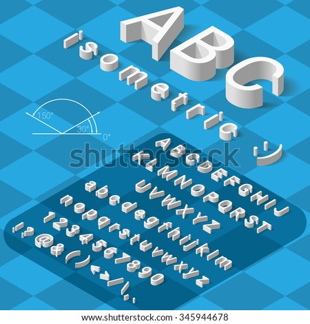 Isometric font alphabet with drop shadow on blue background. Vector illustration - stock vector