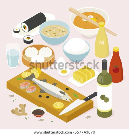 isometric food asia table vector illustration flat design