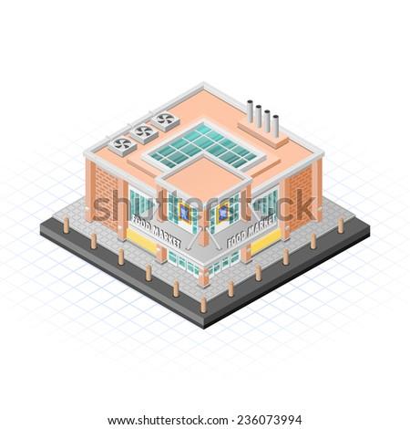 Isometric Food Market Building Vector Illustration - stock vector