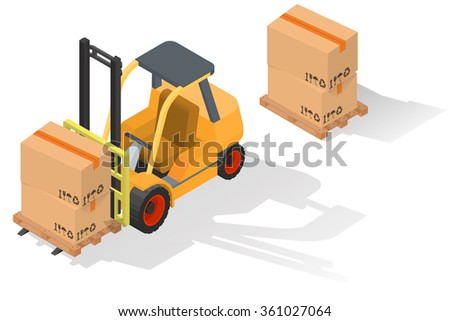 Isometric forklift truck with boxes on wooden pallet. vector illustration Isolated on white background - stock vector