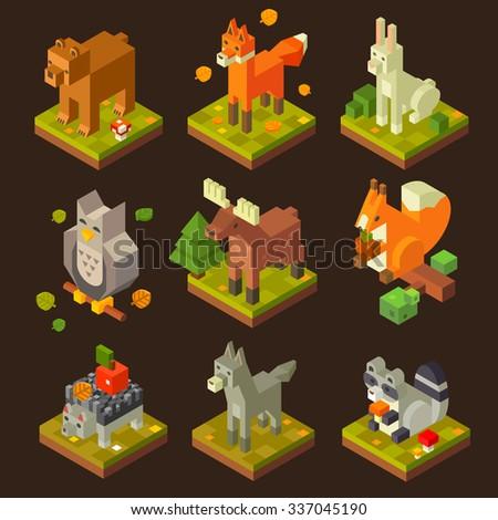 Isometric  forrest bird and  animal set: bear, fox, hare, owl, deer, squirrel, hedgehog, wolf, raccoon. Flat isometric vector stock set.  - stock vector