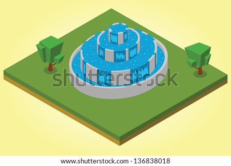 isometric fountain - stock vector