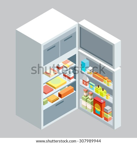isometric fridge.flat illustration - stock vector