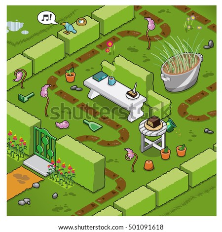 Isometric garden surrounded by hedges, with secluded marble bench and walkway (vector illustration)