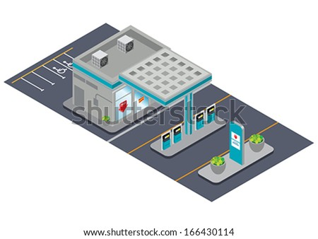 isometric gas station - stock vector
