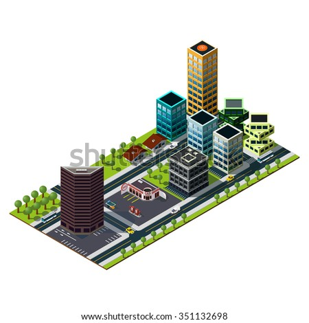 Isometric gas station and bank building illustration. Skyscrapers icon. Isometric city.