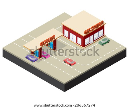 Isometric gas station with cars, gasoline pump nozzles and markings on the road. Vector illustration for design of some game applications. - stock vector