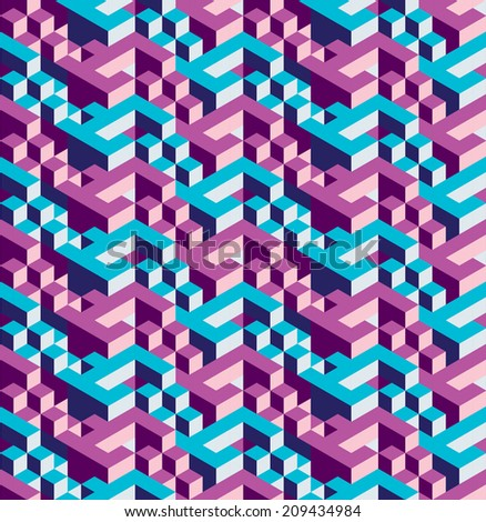 Isometric geometric vector seamless pattern of triangles, blue and purple, ready to use - stock vector