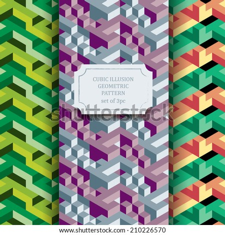 Isometric geometric vector seamless pattern of triangles, set of three hipster textures, ready to use - stock vector