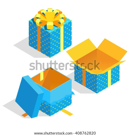 Isometric gift boxes. Vector image - stock vector