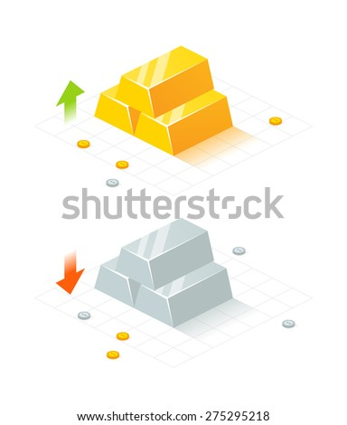 Isometric golden and silver bars and coins. EPS 10. RGB. Transparencies - stock vector