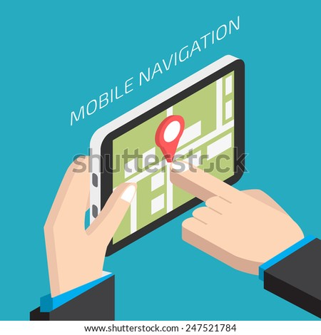Isometric GPS mobile navigation with tablet.  Man holding a tablet - stock vector