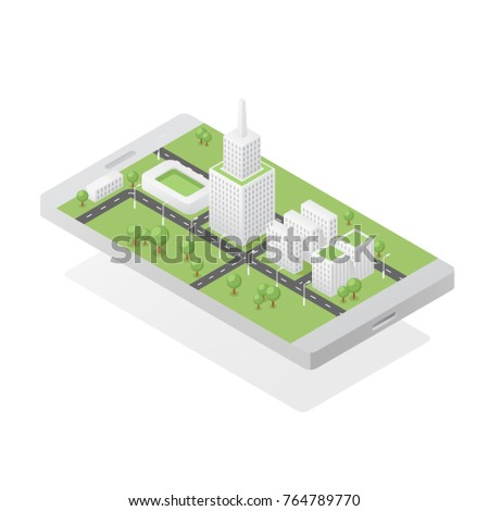 Isometric green city on smartphone screen vector illustration, ecology clean smart city concept, buildings and landmarks, green park with tree 3d picture