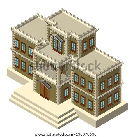Isometric grey retro house - stock vector