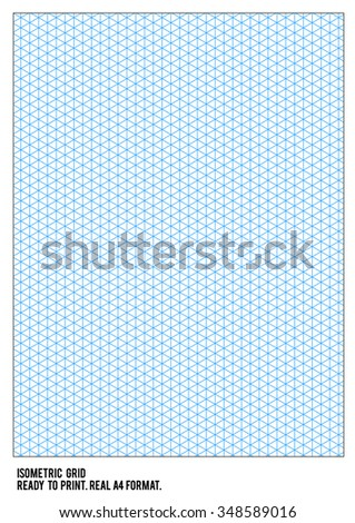 Isometric Grid Paper Ready Print Real Stock Vector