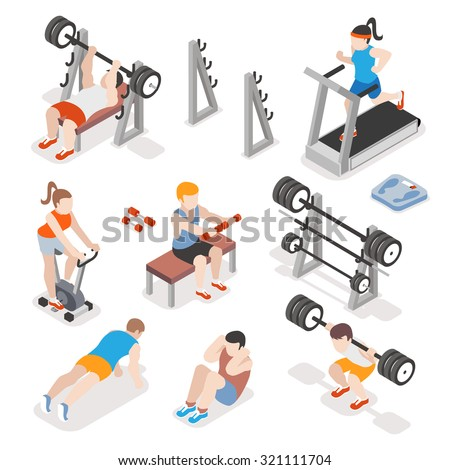 Isometric gym workout flat vector set. Men and women pumping iron illustration. Fitness concepts. Exercise training, strength physical illustration - stock vector