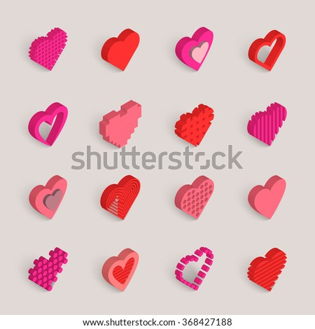 Isometric hearts vector icons set. Valentines Day wedding love icons.  - stock vector