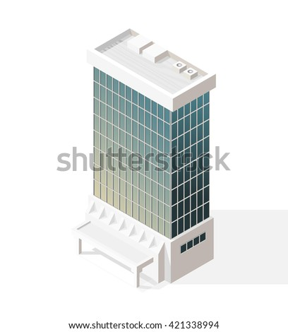 Isometric High Quality City Element with 45 Degrees Shadows on White Background. Skyscraper. - stock vector