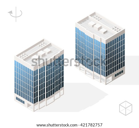 Isometric High Quality City Element with 45 Degrees Shadows on White Background. Skyscraper. Two Positions ( Left and Right ).