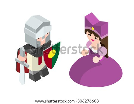 Isometric High Quality Medieval Character with 45 Degrees Shadows on White Background. Knight and Princess - stock vector