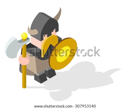Isometric High Quality Medieval Character with 45 Degrees Shadows on White Background. Viking - stock vector