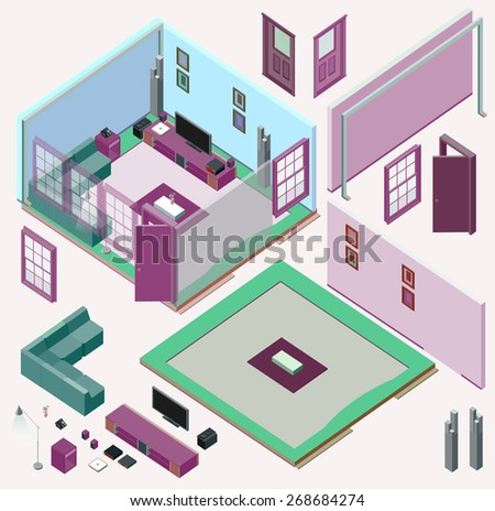 Isometric Home Planning. 3D Vector Creation Kit - stock vector