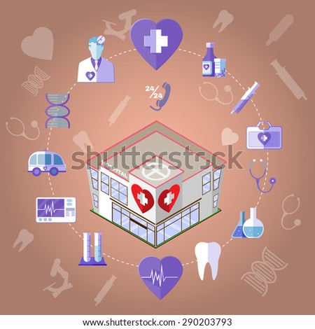 Isometric Hospital Medical Institution. Healthcare Related Objects. Colorful Infographics Icons Set. Digital background vector illustration.
