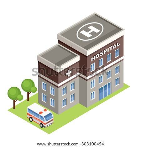 Isometric hospital. Vector  - stock vector