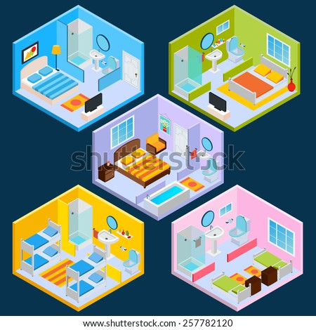 Isometric hotel interior set with 3d furniture and decoration icons isolated vector illustration - stock vector