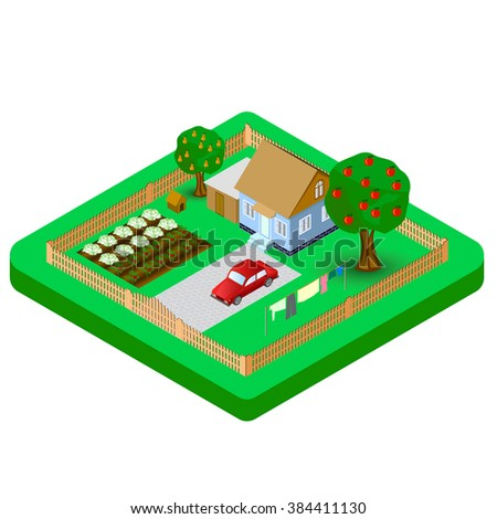 Isometric house and garden vector Illustration - stock vector