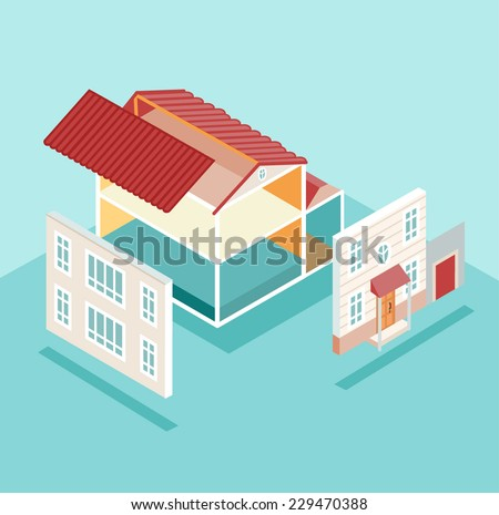 Isometric house and its parts isolated. Vector illustration - stock vector