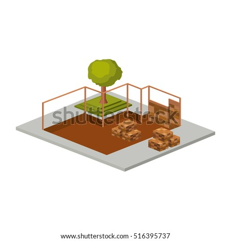 Isometric house architecture model and trees design