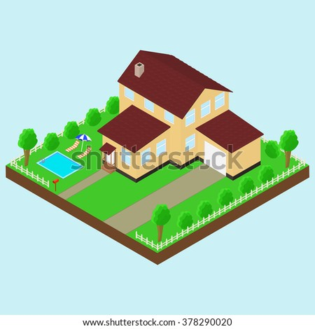 Isometric house 3D icon. Pictogram house with a mailbox, trees, bushes, garage, pool, parasol, sun lounger.