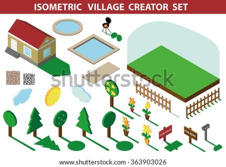 Isometric House,modern 3D Style.Vector Illustration.Isomatic  Landscape,village Creator Set