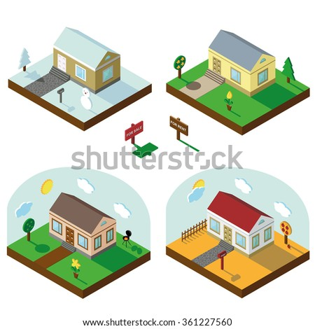 Isometric house,modern 3D style.Vector illustration.Isomatic landscape.Village in different seasons.Small house,trees,Yard,Grass,path.Property Isolated bungalow .Winter,spring,summer,autumn.