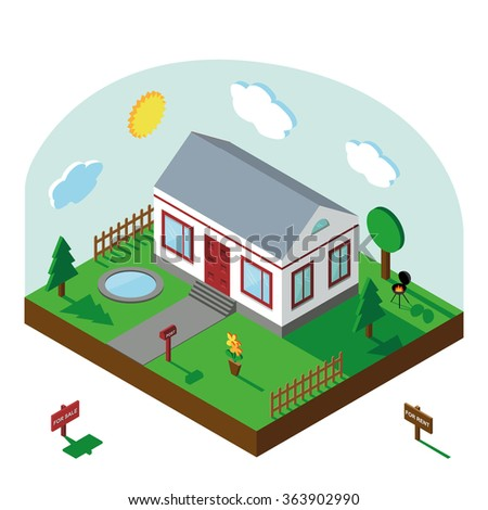 Isometric house,modern 3D style.Vector illustration.Isomatic landscape village with small house,trees,fence,pool,flowers,Yard,Green Grass,barbecue .Property Isolated yard,American style.Summer party