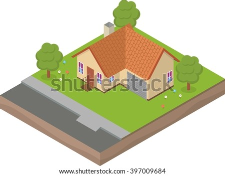 Isometric house with backyard, trees and flowers - stock vector