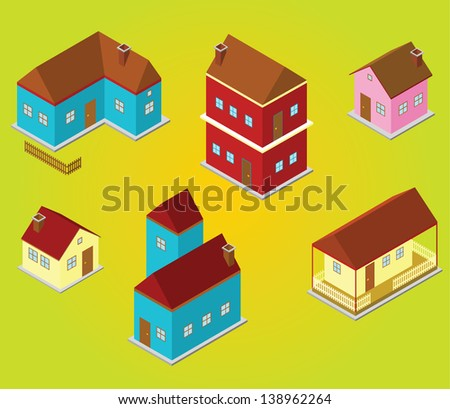 isometric houses - stock vector