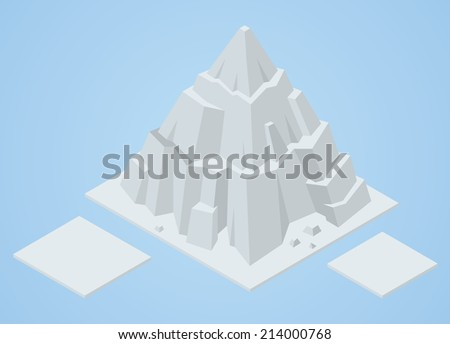 isometric iceberg - stock vector