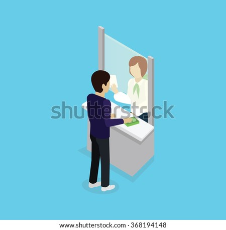 Isometric icon man with money at bank window. 3D business money, finance bank, service counter bank, cashier in bank, employee person, worker bank, financial specialist, payment cash operator in bank - stock vector