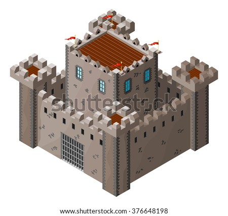 Isometric icon of medieval stone castle. Vector illustration. - stock vector