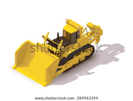 Isometric icon representing mining bulldozer - stock vector